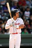 Third baseman Brandon Howlett (35) of the Greenville Drive bats in a game against the Hickory Crawdads on Tuesday, April 30, 2019, at Fluor Field at the West End in Greenville, South Carolina. Hickory won, 5-4. (Tom Priddy/Four Seam Images)