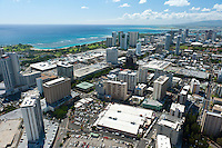 AErial of Ala Moana Shopping Center, Magic Island and neighborhood