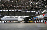 "April 21, 2018, Tokyo, Japan - Japan Airlines (JAL) unveils a wrapped jetliner with pictures of casts of a TV drama ""Segodon"" at a JAL hanger of Tokyo's Haneda airport on Saturday, April 21, 2018. JAL started domestic services of the Segodon-jet on April 21.   (Photo by Yoshio Tsunoda/AFLO) LWX -ytd-"