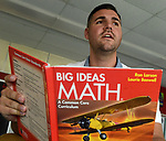 (09/18/17 Springfield MA)  Math teacher Evan Christensen in his classroom at John J. Duggan Academy, Monday, Sept. 18, 2017, in Springfield. Herald Photo by Jim Michaud