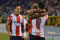 BARRANQUILLA- COLOMBIA -16 -12-2015: Los jugadores de Atletico Junior celebran el gol anotado a Atletico Nacional, durante partido de ida entre Atletico Junior y Atletico Nacional, por la final de la Liga Aguila II-2015, jugado en el estadio Metropolitano Roberto Melendez de la ciudad de Barranquilla. / The players of Atletico Junior celebrate a scored goal to Atletico Nacional, during a match for the first leg between Atletico Junior and Atletico Nacional, for final of the Liga Aguila II-2015 at the Metropolitano Roberto Melendez Stadium in Barranquilla city, Photo: VizzorImage. / Alfonso Cervantes / Cont.