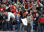 12/04/10-- Oregon State's Johnny Hekker celebrates after Jordan Poyer made a fumble recovery in the first quarter during the Civil War game at Reser Stadium in Corvallis, Or..Photo by Jaime Valdez......