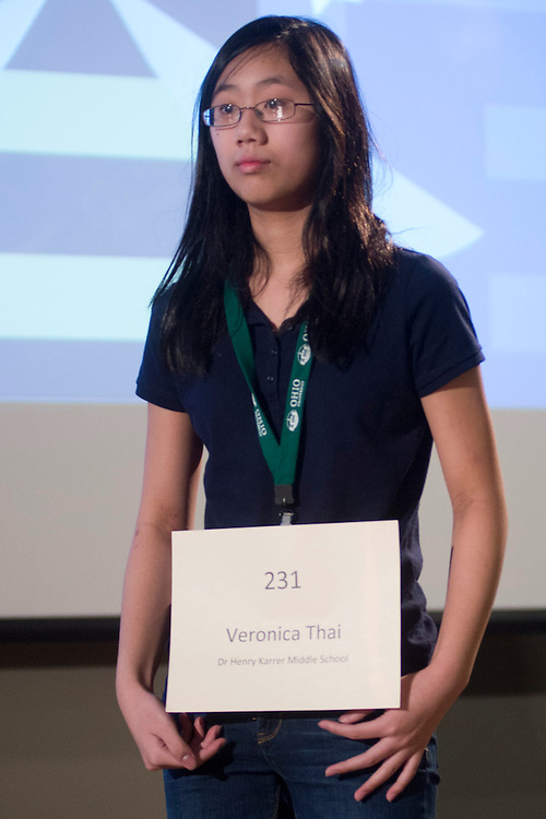 Veronica Thai of Dr. Henry Karrer Middle School introduces herself during the Columbus Metro Regional Spelling Bee Regional Saturday, March 16, 2013. The Regional Spelling Bee was sponsored by Ohio University's Scripps College of Communication and held in Margaret M. Walter Hall on OU's main campus.