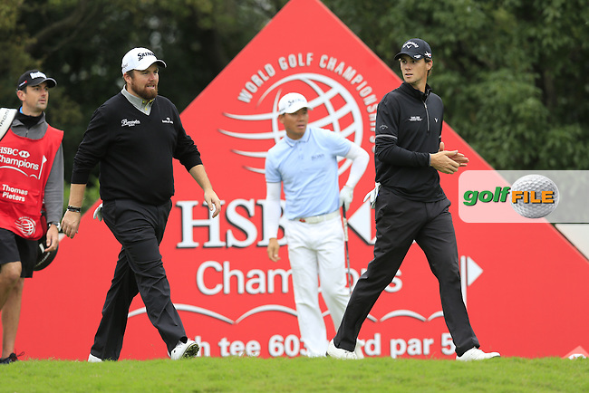 Shane Lowry (IRL), Thomas Pieters (BEL) on the 8th during round 3 of the WGC-HSBC Champions, Sheshan International GC, Shanghai, China PR.  29/10/2016<br /> Picture: Golffile | Fran Caffrey<br /> <br /> <br /> All photo usage must carry mandatory copyright credit (&copy; Golffile | Fran Caffrey)