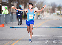 NWA Democrat-Gazette/CHARLIE KAIJO Jay Glidewell of Fort Smith places first in a 5K during the The 42nd annual Hogeye Marathon, Saturday, April 14, 2018 in Downtown Springdale.