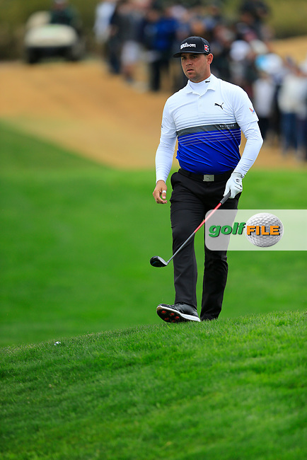 Gary Woodland (USA) on the 3rd during the final round of the Waste Management Phoenix Open, TPC Scottsdale, Scottsdale, Arisona, USA. 03/02/2019.<br /> Picture Fran Caffrey / Golffile.ie<br /> <br /> All photo usage must carry mandatory copyright credit (© Golffile | Fran Caffrey)