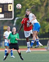 Western New York forward Omolyn Davis (8) and Boston Breakers defender Julie King (8) battle for head ball. In a Women's Premier Soccer League Elite (WPSL) match, the Boston Breakers defeated Western New York Flash, 3-2, at Dilboy Stadium on May 26, 2012.