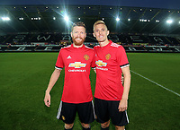 Manchester United players during the Swansea Legends v Manchester United Legends at The Liberty Stadium, Swansea, Wales, UK. Wednesday 09 August 2017