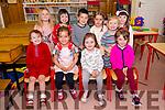 Muireann Nic Carthaigh, Molly de Mórdha, Fiadh Ní Chearna, Ellie Ní Mhainín and, back, Etain Ní Mhaolcatha, Emilie Nic Gearailt, Sonaí Mac an tSíthigh, Clodagh Ní Chinnéide, Líse Nic Fhloinn, Aoibh Ní Dhalaigh, from Scoil Dhún Chaoin, enjoying their first day at school.