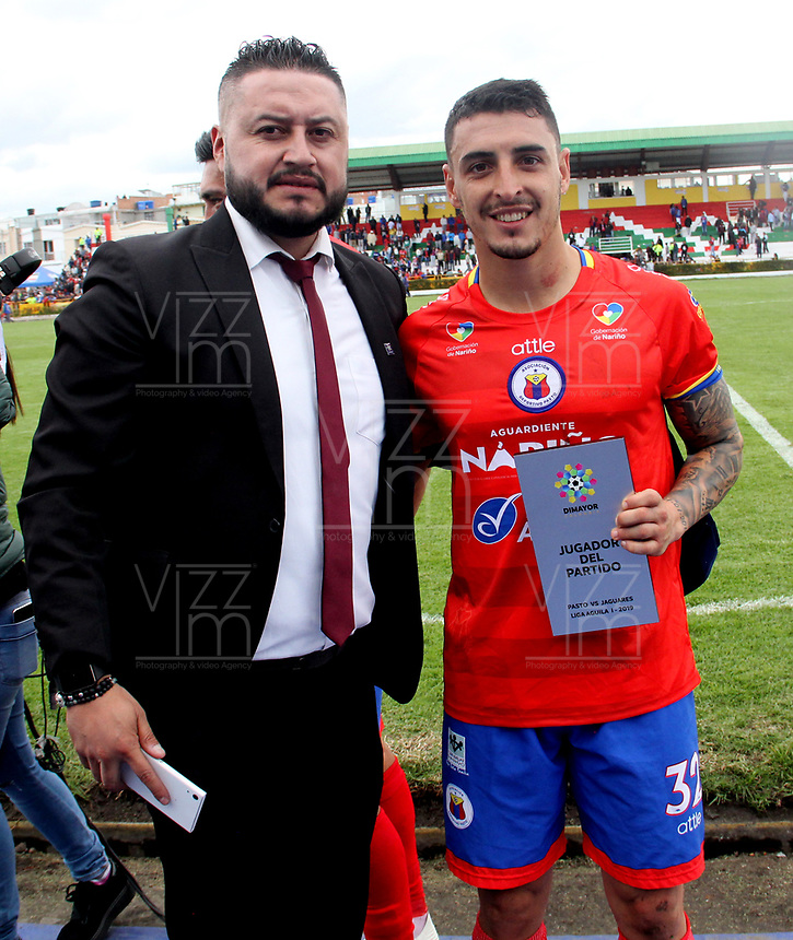 IPIALES-COLOMBIA ,17-02-2019. Mariano Vásquez  jugador  del Deportivo Pasto fué elegido como el mejor de la cancha contra Jaguares de Córdoba durante partido por la fecha 5 de la Liga Águila I 2019 jugado en el estadio Municipal de Ipiales./ Mariano Vasquez player of Deportivo Pasto was chosen as the best of the field against of Jaguares of Cordoba during the match for the date 5 of the Aguila League I 2019 played at Municipal stadium in Ipiales city. Photo: VizzorImage/ Leonardo Castro / Contribuidor