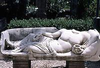 Greek Art:  Sarcophagus Lid--Reclining Figure.  Ostia.  Photo '83.