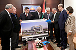Palestinian President Mahmoud Abbas receives the final design of the center of Khaled El Hassan in the West Bank city of Ramallah on November 26, 2017. Photo by Osama Falah