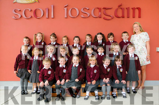 M/s Costello's junior infants class at Scoil  Iosagain, Ballybunion on their first day at school. Front Row : Bryan Horgan, Stephen Mulvihill, Lily Mai Halpin, Penny Mulvihill, Zoe Byrne & Freya Nolan. Centre: Blanka Dawidowska, Mollie Mallon, Savannah de Beer, Alana Hegarty Flaherty, Bobby Dee, Joyce Nagle,  Michael Pierce, Caoimhe Buckley & Addisyn Walsh. Back Row: Baillie O'Brien, Kaiya Browne, Neil Rice, Ruby Walsh, Aoife Fitzgerald, Lucy McSherry, Jodie Allen, Anna Rose O'Connell & Cian Costello.