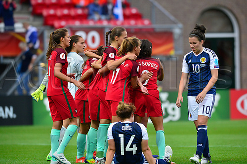 July 23rd 2017, Sparta Stadion, Rotterdam, Netherlands; Womens Euro 2017 Finals, Group D Match; Scotland versus Portugal;  Portugal celebrate their 2-1 victory and Scotland are distraught
