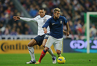 Jermaine Jones of team USA and Jeremy Menez of team France (l-r) fight for the ball during the friendly match France against USA at the Stade de France in Paris, France on November 11th, 2011.