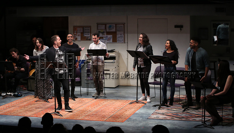 """Omer Shaish and Joel Perez with the cast of """"Borders"""" during the 2018 Presentation of New Works by the DGF Fellows on October 15, 2018 at the Playwrights Horizons Theatre in New York City."""