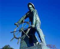 Gloucester, Cape Ann, MA<br /> Fiserman's Memorial sculpture by Leonard Craske, 1923, also known as The Man at the Wheel