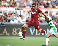 Football, Serie A: AS Roma - Sassuolo, Olympic stadium, Rome, September 15, 2019. <br /> Roma's Edin Dzeko (l) scores despite Sassuolo's Gianluca Ferrari (r) during the Italian Serie A football match between Roma and Sassuolo at Olympic stadium in Rome, on September 15, 2019.<br /> UPDATE IMAGES PRESS/Isabella Bonotto