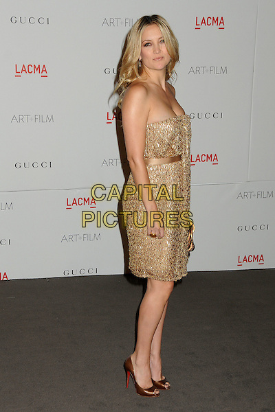 Kate Hudson.The Inaugural Art and Film Gala held at LACMA in Los Angeles, California, USA..November 5th, 2011.full length gold strapless dress side bronze beads beaded .CAP/ADM/BP.©Byron Purvis/AdMedia/Capital Pictures.