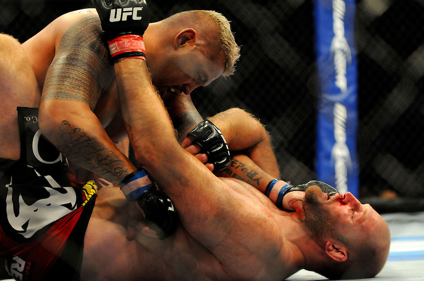 24 SEPTEMBER 2011:    Mark Hunt on top of Ben Rothwell during UFC 135 at the Pepsi Center in Denver, Colorado. *****For Editorial Use Only*****