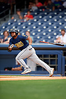 New Orleans Baby Cakes designated hitter Tomas Telis (18) runs to first base during a game against the Nashville Sounds on April 30, 2017 at First Tennessee Park in Nashville, Tennessee.  The game was postponed due to inclement weather in the fourth inning.  (Mike Janes/Four Seam Images)