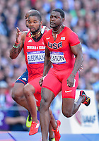 August 05, 2012: Justin Gatlin of USA and Keston Bledman of TRI compete in men's 100m semifinal at the Olympic Stadium on day nine of 2012 Olympic Games in London, United Kingdom.