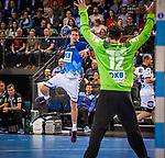 Andy Schmid (Rhein-Neckar Loewen)  \Silvio Heinevetter (Fuechse Berlin) \ beim Spiel der All Star-Team - Deutsche Nationalmannschaft.<br /> <br /> Foto © PIX-Sportfotos *** Foto ist honorarpflichtig! *** Auf Anfrage in hoeherer Qualitaet/Aufloesung. Belegexemplar erbeten. Veroeffentlichung ausschliesslich fuer journalistisch-publizistische Zwecke. For editorial use only.