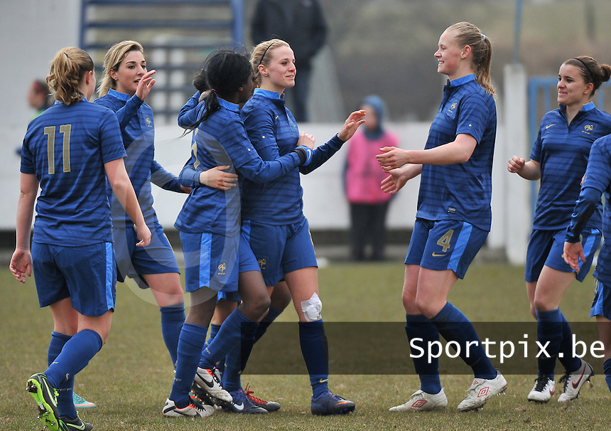 France U19 - Russia U19 : France Celebrating their many goals.foto DAVID CATRY / Nikonpro.be