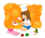 Illustrative image of girl in chef's hat cooking food representing aspiration