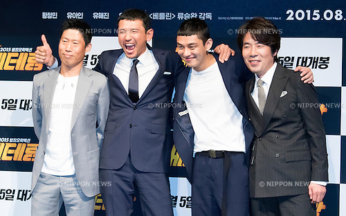 """Yu Hae-Jin,  Hwang Jung-Min, ・Yoo A-In and  Oh Dal-Su, Jul 01, 2015 : South Korean actors (L-R) Yu Hae-jin, Hwang Jung-min, Yoo A-in and Oh Dal-su attend a presentation of Korean movie, """"Veteran"""" in Seoul, South Korea. (Photo by Lee Jae-Won/AFLO) (SOUTH KOREA)"""