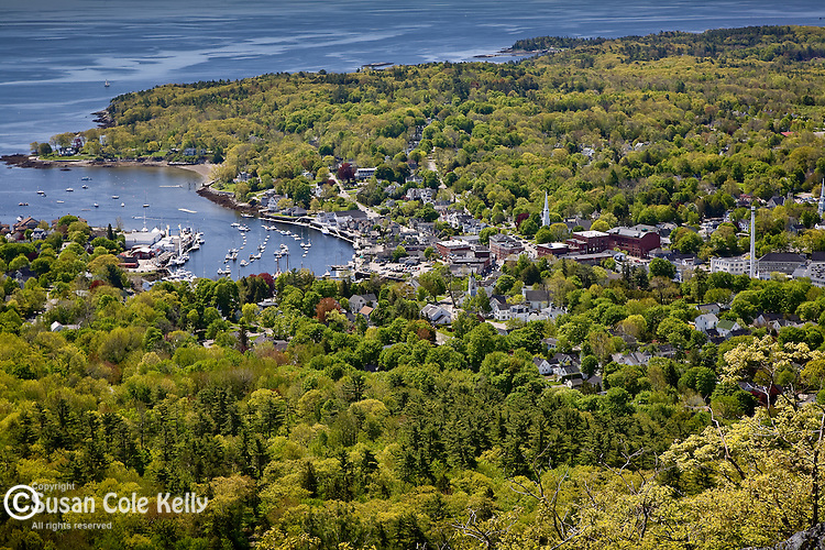 Springtime view of Camden Harbor from Camden Hills State Park, Camden, ME, USA