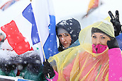 9th December 2017, Biathlon Centre, Hochfilzen, Austria; IBU Biathlon World Cup; French fans watch the action as the snow falls