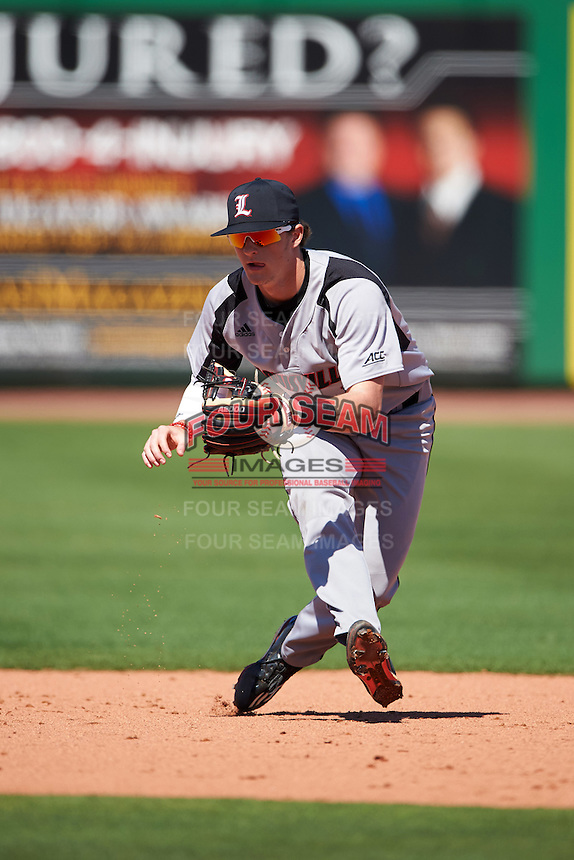 Louisville Cardinals Tyler Fitzgerald (2) during practice before a game against the Ball State Cardinals on February 19, 2017 at Spectrum Field in Clearwater, Florida.  Louisville defeated Ball State 10-4.  (Mike Janes/Four Seam Images)