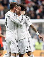 Real Madrid's Sergio Ramos (l) and Marcelo Vieira celebrate goal during La Liga match.January 31,2015. (ALTERPHOTOS/Acero) /NortePhoto<br />