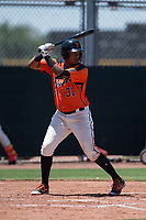 San Francisco Giants Orange first baseman Beicker Mendoza (31) at bat during an Extended Spring Training game against the Seattle Mariners at the San Francisco Giants Training Complex on May 28, 2018 in Scottsdale, Arizona. (Zachary Lucy/Four Seam Images)