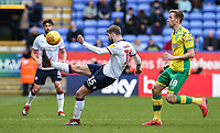 Bolton Wanderers' Luke Murphy clears under pressure from Norwich City's Marco Stiepermann  <br /> <br /> Photographer Andrew Kearns/CameraSport<br /> <br /> The EFL Sky Bet Championship - Bolton Wanderers v Norwich City - Saturday 16th February 2019 - University of Bolton Stadium - Bolton<br /> <br /> World Copyright © 2019 CameraSport. All rights reserved. 43 Linden Ave. Countesthorpe. Leicester. England. LE8 5PG - Tel: +44 (0) 116 277 4147 - admin@camerasport.com - www.camerasport.com