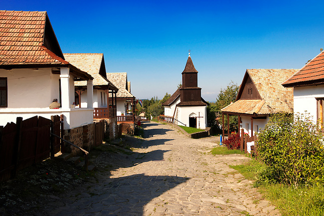 Main Street of Hollók? ( Holoko ) Paloc ethnographic village. Hungary