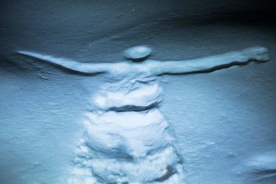 A snow angel appears in the powder along the trail to Grotto Falls.