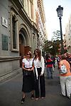 Spanish journalist Marilo Montero (r) and Sara Garcia during Spanish actor Arturo Fernandez funeral mass. July 17, 2019. (ALTERPHOTOS/Yurena Paniagua)