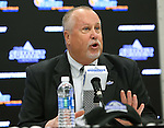 SIOUX FALLS, SD: MARCH 2: Summit League Commissioner Tom Douple addresses the media during a press conference prior to the 2017 Summit League Basketball Championship Thursday at the Denny Sanford Premier Center in Sioux Falls, SD. (Photo by Dave Eggen/Inertia)