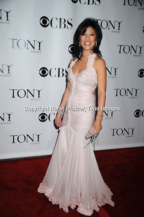 Julie Chen in J Mendel dress.posing for photographers at the 62nd Annual Tony Awards.on June 15, 2008 at RAdio City Music Hall. ..Robin Platzer, Twin Images