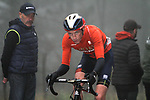 Stephen Williams (GBR) Bahrain-Merida in the dark fog on the category 3 climb over Zaratoma during another wet Stage 4 of the Tour of the Basque Country 2019 running 163.6km from Vitoria-Gasteiz to Arrigorriaga, Spain. 11th April 2019.<br /> Picture: Colin Flockton | Cyclefile<br /> <br /> <br /> All photos usage must carry mandatory copyright credit (&copy; Cyclefile | Colin Flockton)