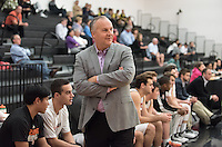 Brian Newhall, head men's basketball coach. The Occidental College men's basketball team plays against Chapman University in Rush Gym on Jan. 6, 2015. (Photo by Marc Campos, Occidental College Photographer)