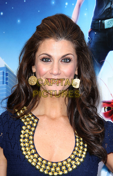 "SAMANTHA HARRIS .""Monsters vs. Aliens"" Los Angeles Premiere held at the Universal City Walk Gibson Amphitheater, Universal City, California, USA..March 22nd, 2009.headshot portrait blue gold beads beaded collar earrings .CAP/ADM/KB.©Kevan Brooks/AdMedia/Capital Pictures."