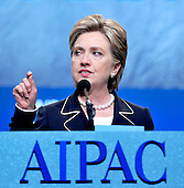 Washington, D.C. - June 2, 2008 -- United States Senator Hillary Rodham Clinton (Democrat of New York), a 2008 Democratic candidate for President of the United States, speaks at the American Israel Public Affairs Committee (AIPAC) annual Policy Conference in Washington, D.C. on Monday, June 2, 2008.  In her remarks, Senator Clinton spoke of her solid support for the State of Israel..Credit: Ron Sachs / CNP.(RESTRICTION: NO New York or New Jersey Newspapers or newspapers within a 75 mile radius of New York City)