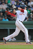 Catcher Jordan Weems (18) of the Greenville Drive bats in a game against the Charleston RiverDogs on Wednesday, June 12, 2013, at Fluor Field at the West End in Greenville, South Carolina. Weems was selected by the Boston Red Sox in the 3rd Round of the 2011 First-Year Player Draft. (Tom Priddy/Four Seam Images)