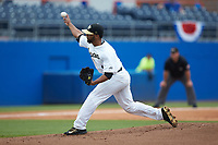 Wake Forest Demon Deacons relief pitcher Donnie Sellers (1) delivers a pitch to the plate against the Florida Gators in the completion of Game Two of the Gainesville Super Regional of the 2017 College World Series at Alfred McKethan Stadium at Perry Field on June 12, 2017 in Gainesville, Florida. The Demon Deacons walked off the Gators 8-6 in 11 innings. (Brian Westerholt/Four Seam Images)