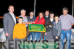 PRESEMTATION: Chairman of Dingle GAA club Paul Scanlon presenting Jane Dowling owner of Ballymac Barrell winner of the Dingle GAA Sweepstake Final at the Kingdom Greyhound Stadium on Saturday l-r: Declan Dowling (Sales & Operations Manager KGS), Eamonn Dowling, Paul Scanlon (chairman Dingle GAA), Micheal Begley (treasury Dingle GAA), Jane Dowling, Sean Begley, Marie Ui Mhurchu (seceartary Dingle), Stephen Reidy and Micheal O Muircheartaigh.