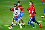Spain's Pedro Rodriguez, Cesar Azpilicueta and Thiago Alcantara during training session. March 23,2017.(ALTERPHOTOS/Acero)