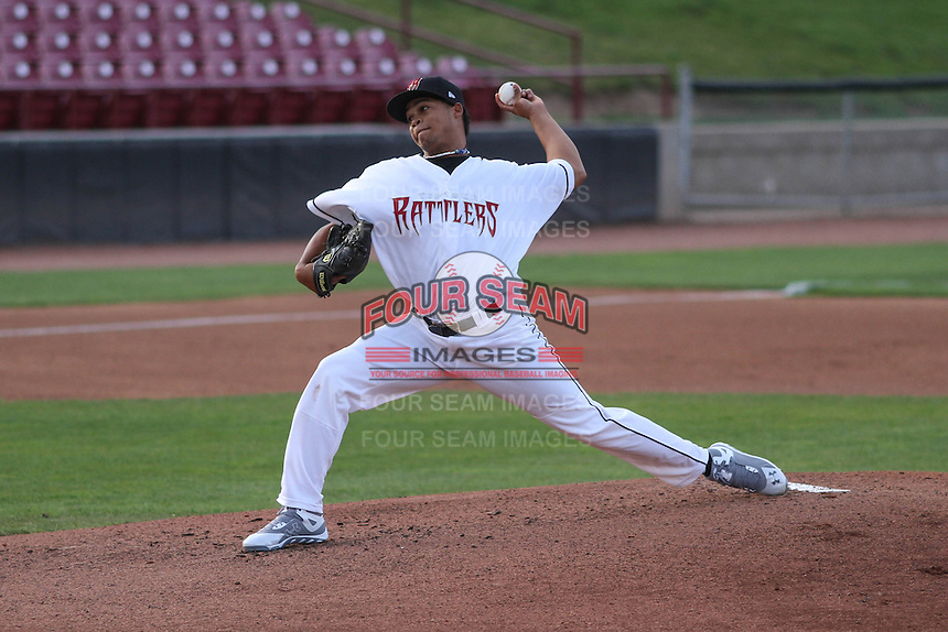 Wisconsin Timber Rattlers pitcher Luis Ortega (37) delivers a pitch during a game against the Cedar Rapids Kernels on May 4th, 2015 at Fox Cities Stadium in Appleton, Wisconsin.  Cedar Rapids defeated Wisconsin 9-3.  (Brad Krause/Four Seam Images)